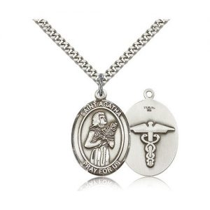 F A Dumont Sterling Silver St. Agatha