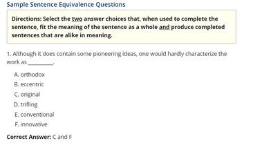 Sample Sentence Equivalence Questions